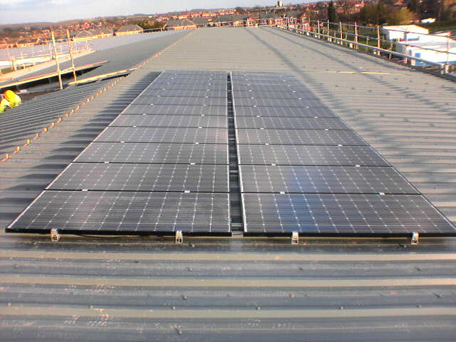 PV frame mounted system on composite roofing, Sanyo Modules - Retford.JPG