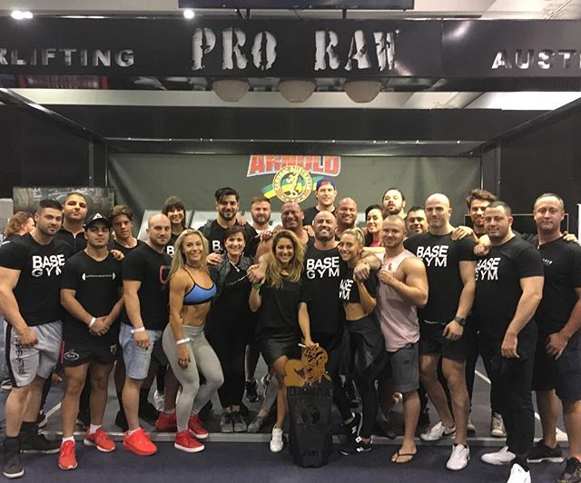 Team Base Gym 💪🏼 Great weekend at the Arnold's with huge support team to come and watch @australianstrengthcoach competing in the 110kg class coming 2nd in Australia with a 900kg total - 360kg squat, 230kg bench press and 310kg deadlift. Team effort 👊🏼 #teambasegym #proraw #powerlifting #arnolds #followthesystem