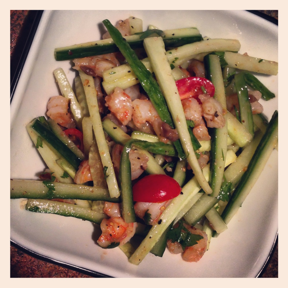 CUCUMBER AND GOOSEBERRY SHRIMP SALAD