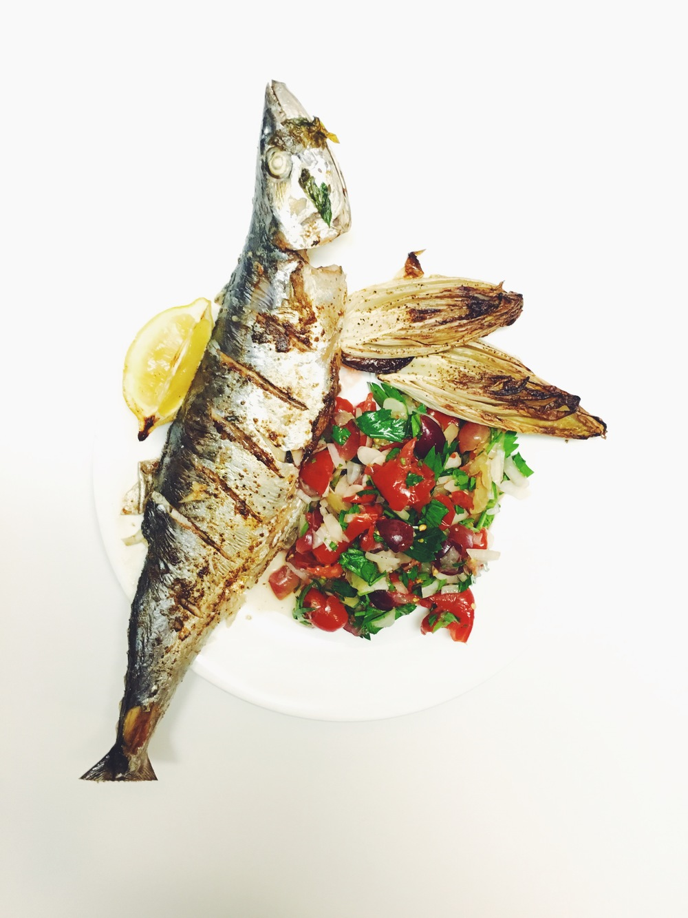 BAKED MACKEREL WITH TOMATO GRAPE SALSA