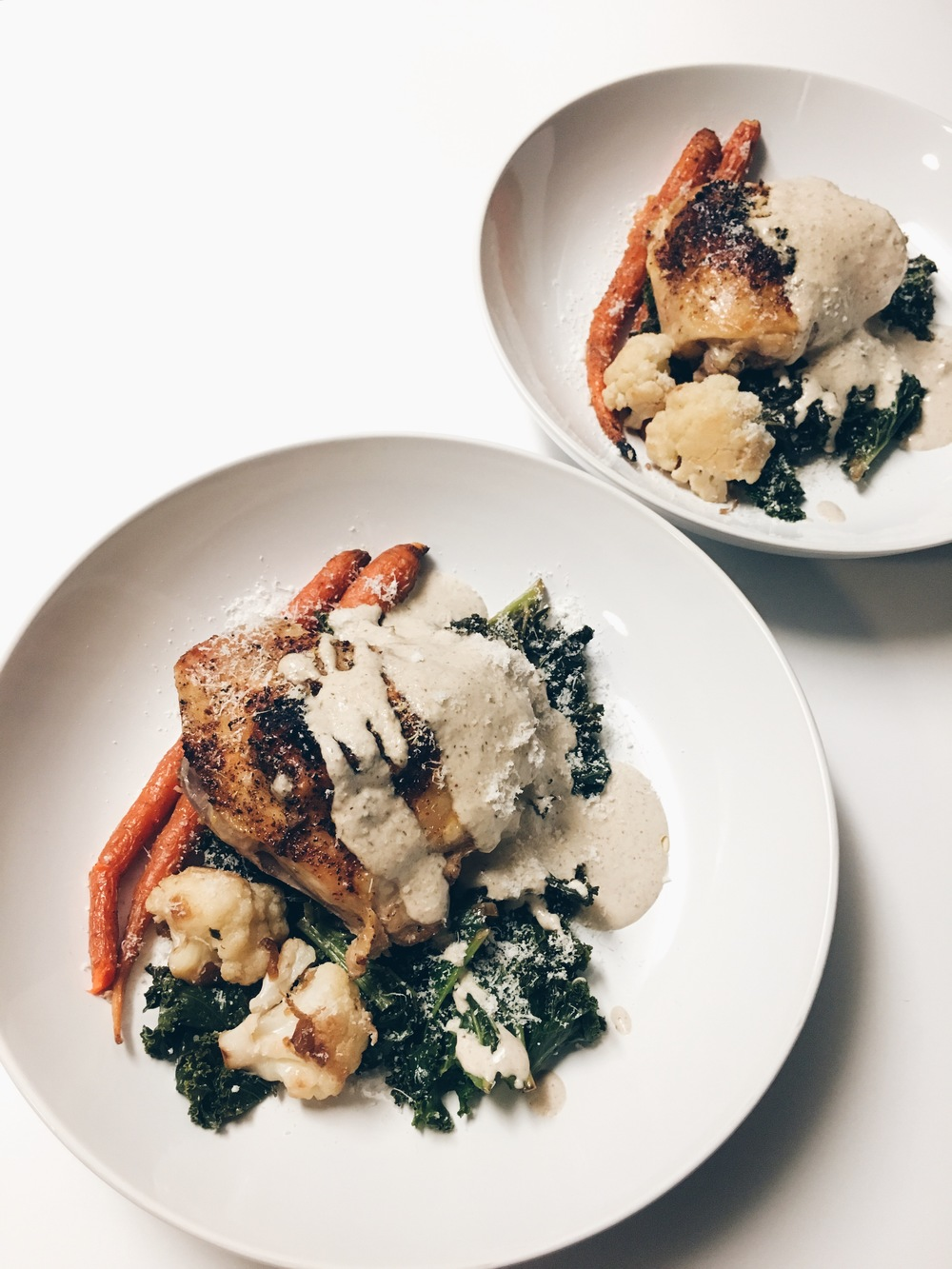 MUSHROOM CHICKEN WITH SAUTÉED KALE