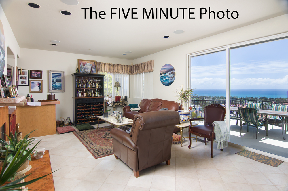 I called it the 5-minute photo, but realistically results like this can be obtained in 2 or 3 minutes in the field. And look how much we've gained just by spending a little more time!   It is quite the contrast when you see the same space next to the non-lit, HDR version above. Also, this is in a room with very good natural light. Imagine how abysmal the one minute version would be in a dark room with little to no natural light!!!  This image is still far from perfect. The lighting could be better and it could have been staged better. But, the take home point is that you spend a little more time in the field, and get drastically better results. But if your photographer refuses to spend more than a minute on a photograph, it is truly going to be garbage in garbage out; just no way around that.