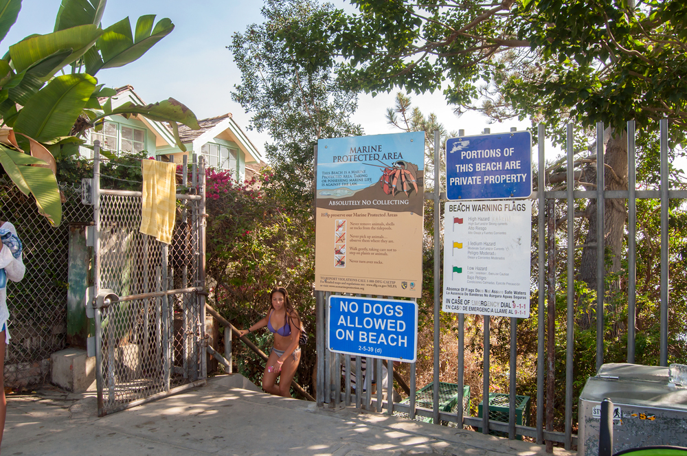 Entry gate down to 1000 Steps Beach. After parking, this is the gate you are looking for at 9th Avenue and PCH to access the beach below.  GPS coordinates of Entry Gate:  N 33.49830º   W 117.74026º