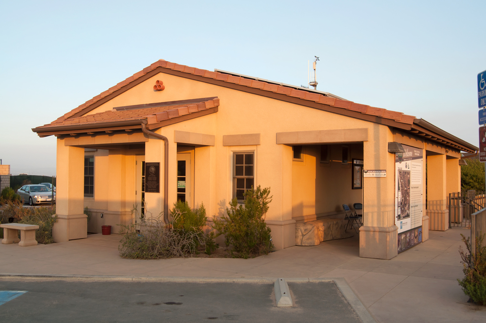 The Dana Point Nature Interpretive Center, where a handy map and information booklet to conservation area can be picked up. The trail around the headlands starts just at the right edge of this photo.