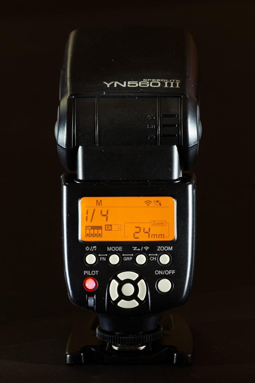 The YN 560iii flash unit made by Yongnuo.