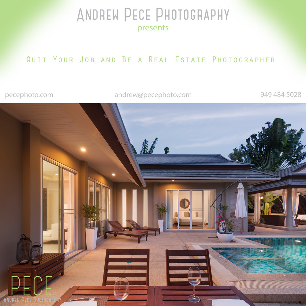 1. Start here. This is a great gateway course that covers EVERYTHING you need to know to get up and running in the real estate photography business. Any photographer wanting to produce lit interiors photos more efficiently can benefit greatly from this course. Click on the image for detailed information.