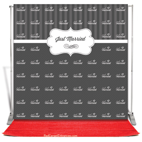 Just Married Wedding Backdrop Red Carpet Kit 8x8 Red Carpet Runner Red Carpet Backdrop Event Shop