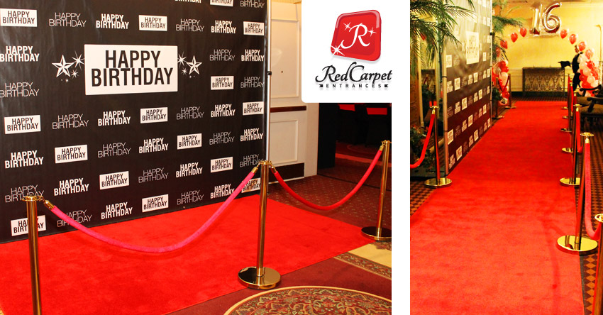 Our ultra-bright, authentic  r  ed carpet runner  and custom  step & repeat backdrop kits  used for a 30th birthday and a  hollywood themed sweet 16 !