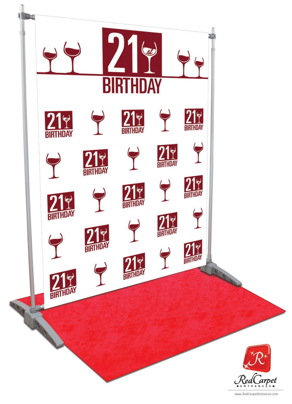 21st Birthday Backdrop White 5x8 Red Carpet Runner