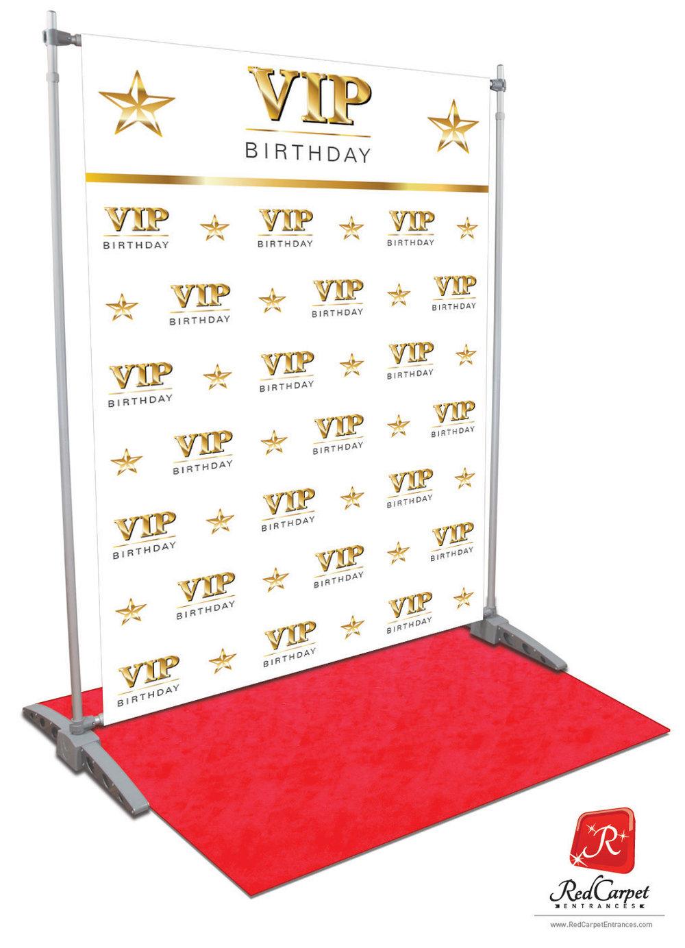 Vip Birthday Backdrop White 5x8 Red Carpet Runner