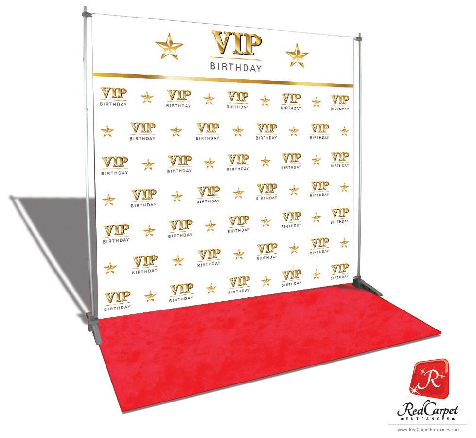 Vip Birthday Backdrop Red Carpet Kit White 8x8 Red