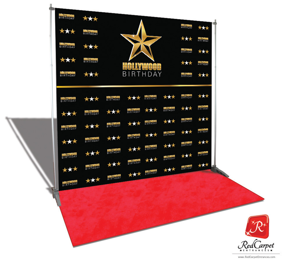 Hollywood Birthday Backdrop Black 8x8 Red Carpet
