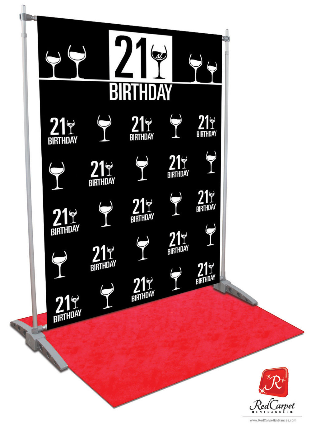 21st Birthday Backdrop Black 5x8 Red Carpet Runner