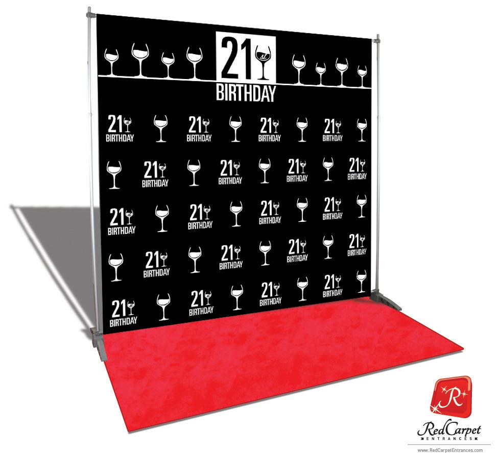 21st Birthday Backdrop Red Carpet Kit Black 8x8