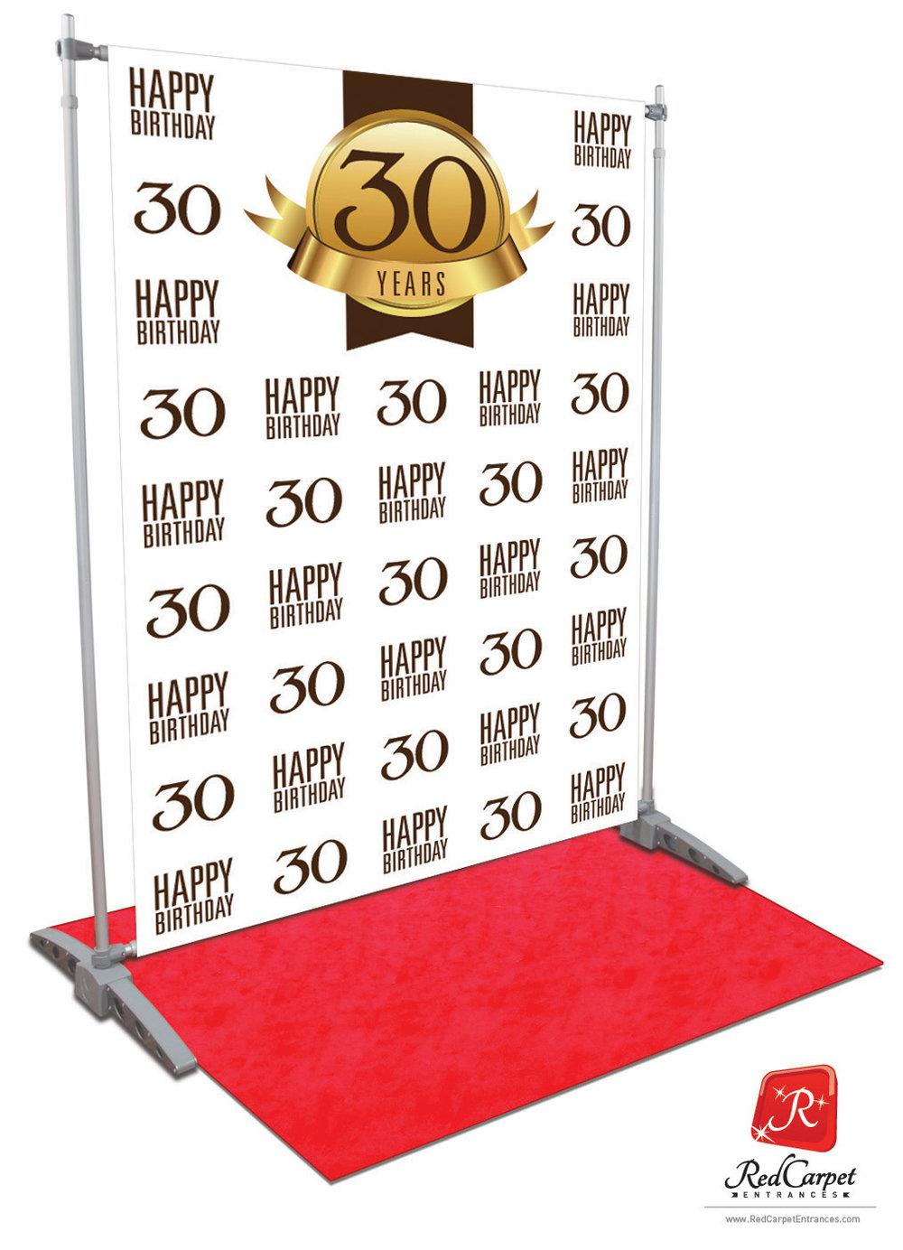 30th Birthday Backdrop White 5x8 Red Carpet Runner