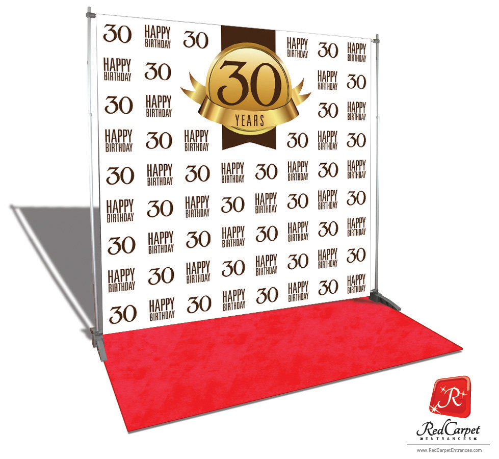 30th Birthday Backdrop Red Carpet Kit White 8x8 Red