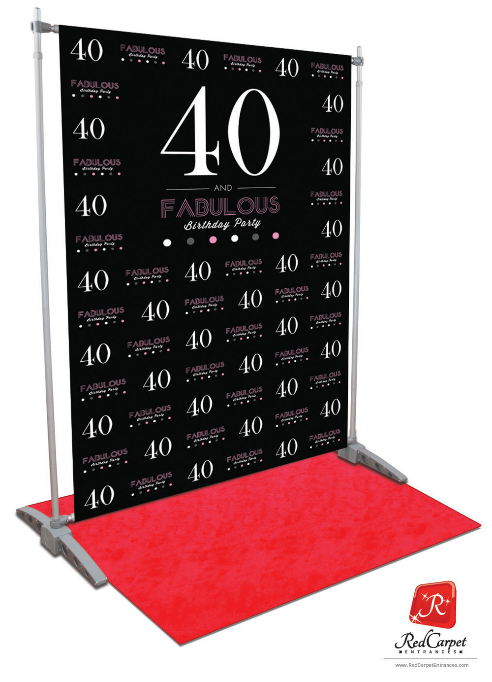 40 And Fabulous Birthday Backdrop Black 5x8 Red Carpet
