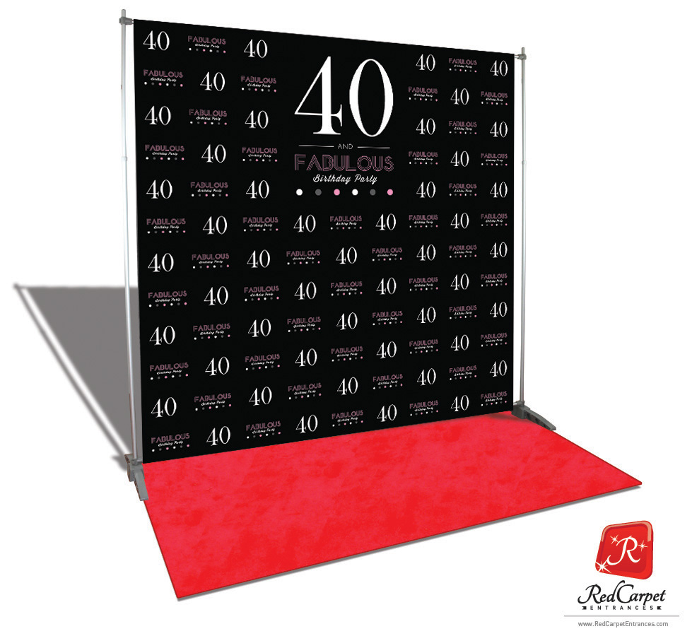 40 And Fabulous Birthday Backdrop Black 8x8 Red Carpet