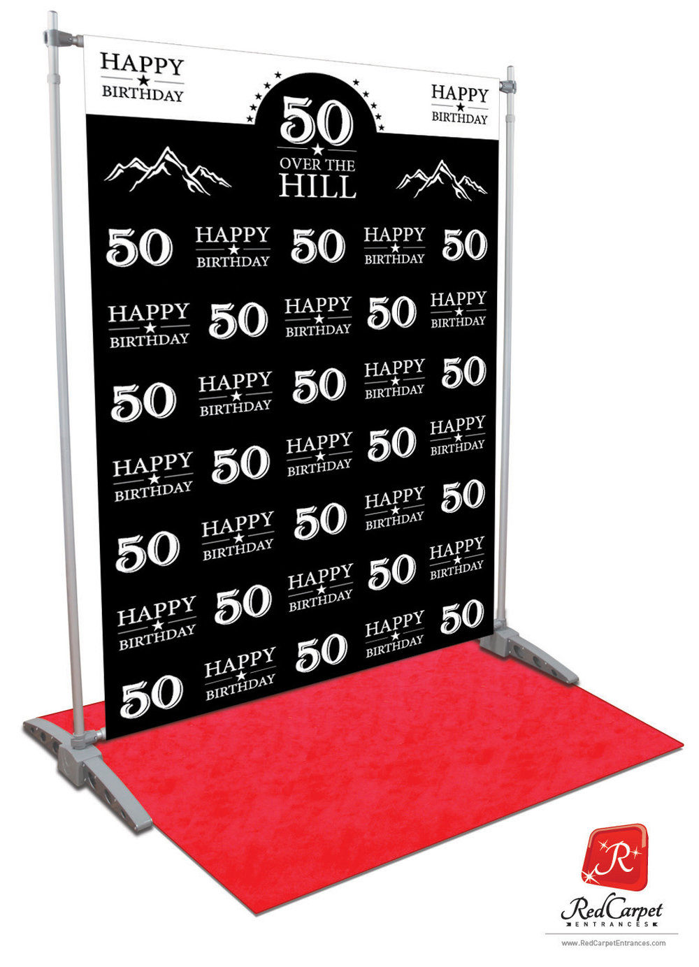 Over The Hill 50th Birthday Backdrop Black 5x8 Red