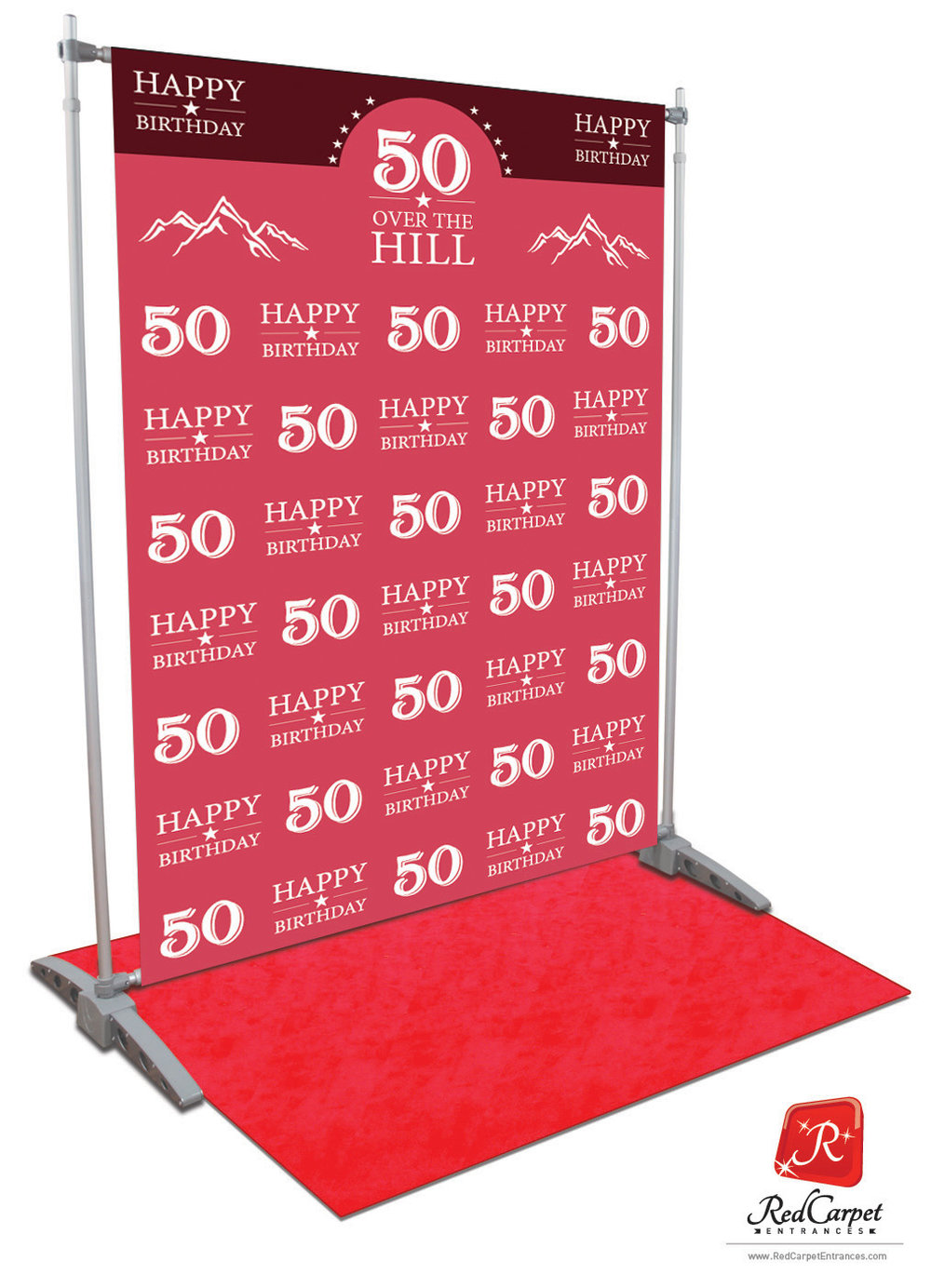 Over The Hill 50th Birthday Backdrop Red Carpet Kit Pink