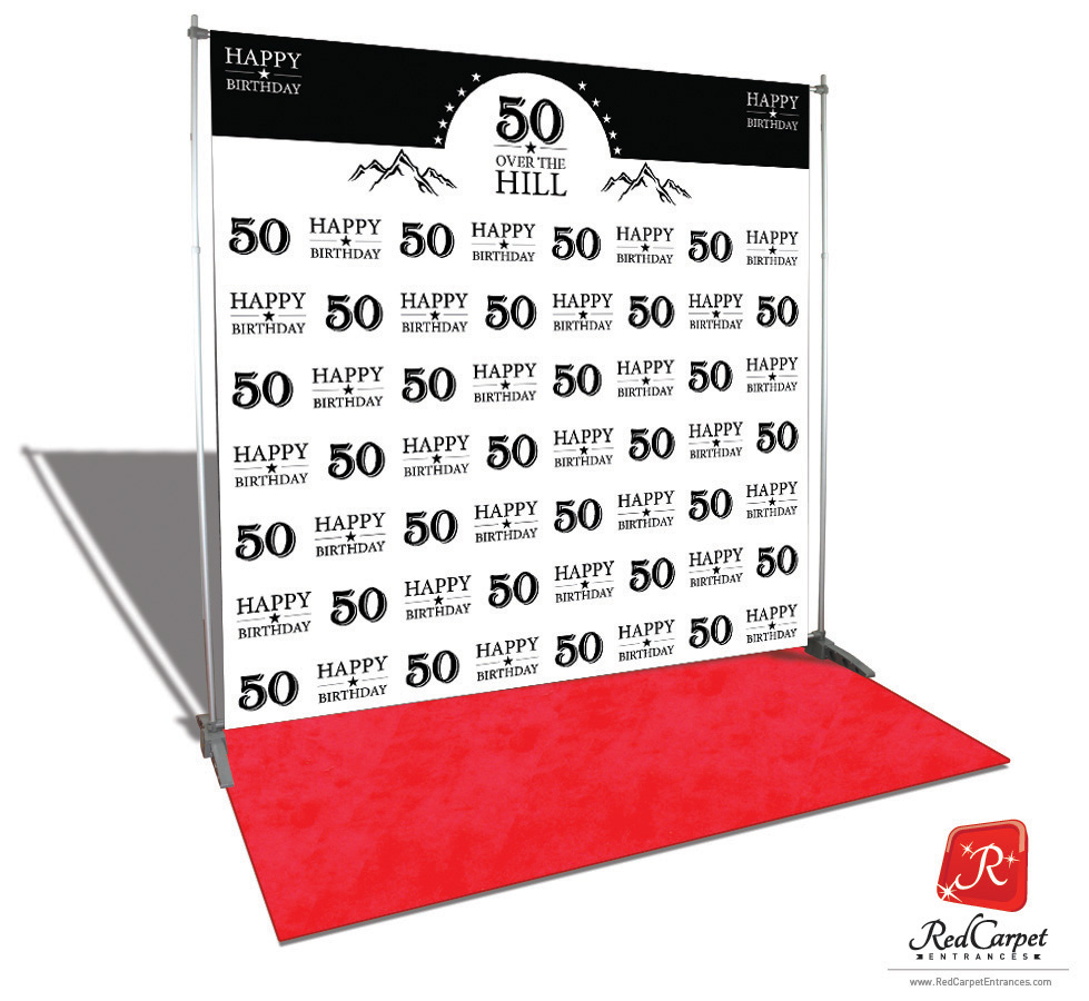 Over The Hill 50th Birthday Backdrop Red Carpet Kit