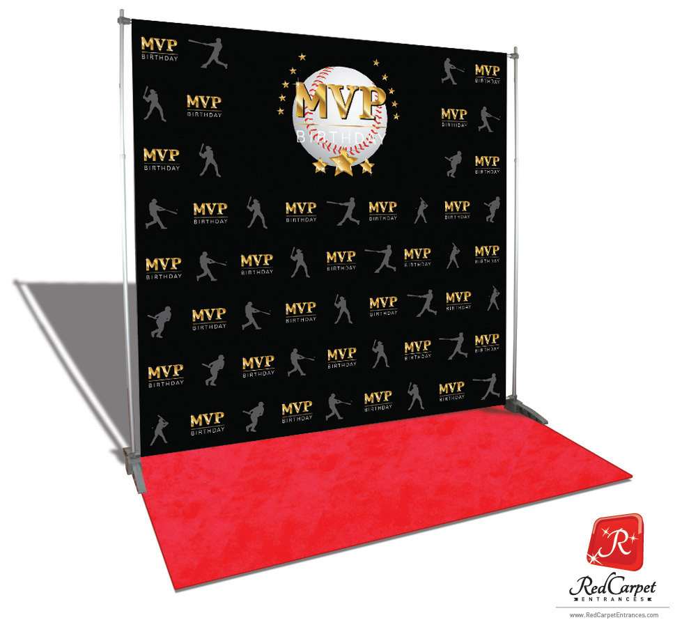 Baseball Mvp Birthday Backdrop Black 8x8 Red Carpet