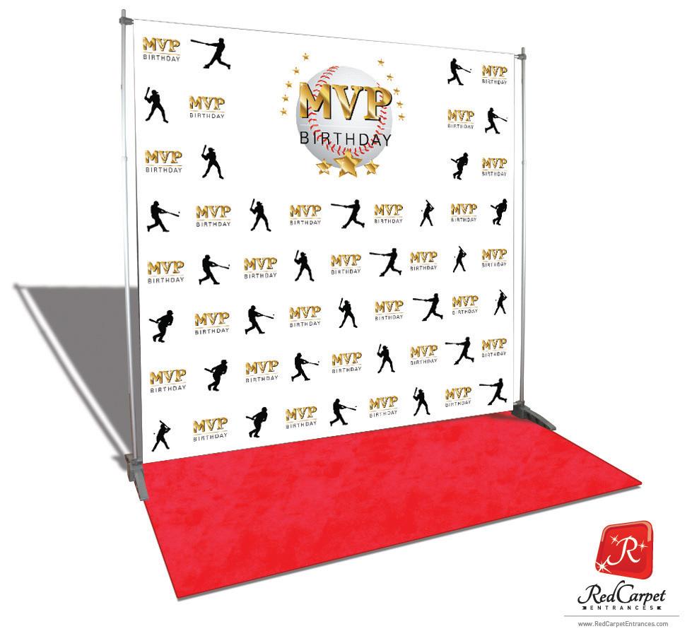 Baseball MVP Birthday Backdrop White 8x8 Red Carpet