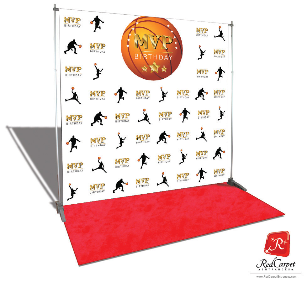 Basketball Mvp Birthday Backdrop White 8x8 Red Carpet