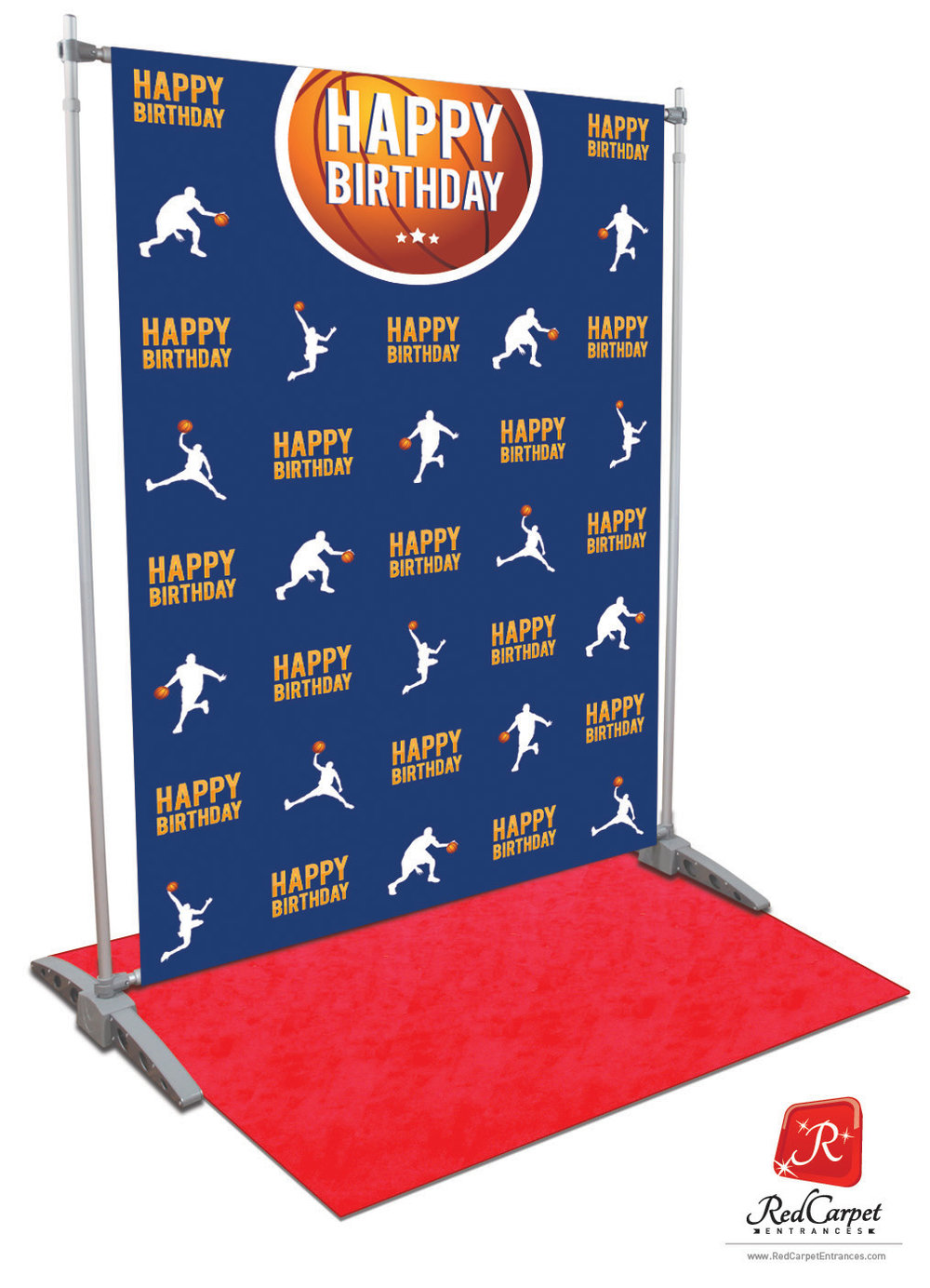 Basketball Mvp Birthday Backdrop Blue 5x8 Red Carpet