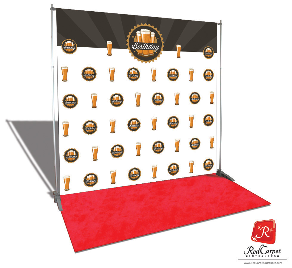 Trade Show Booth Kits : Birthday beer backdrop red carpet kit —