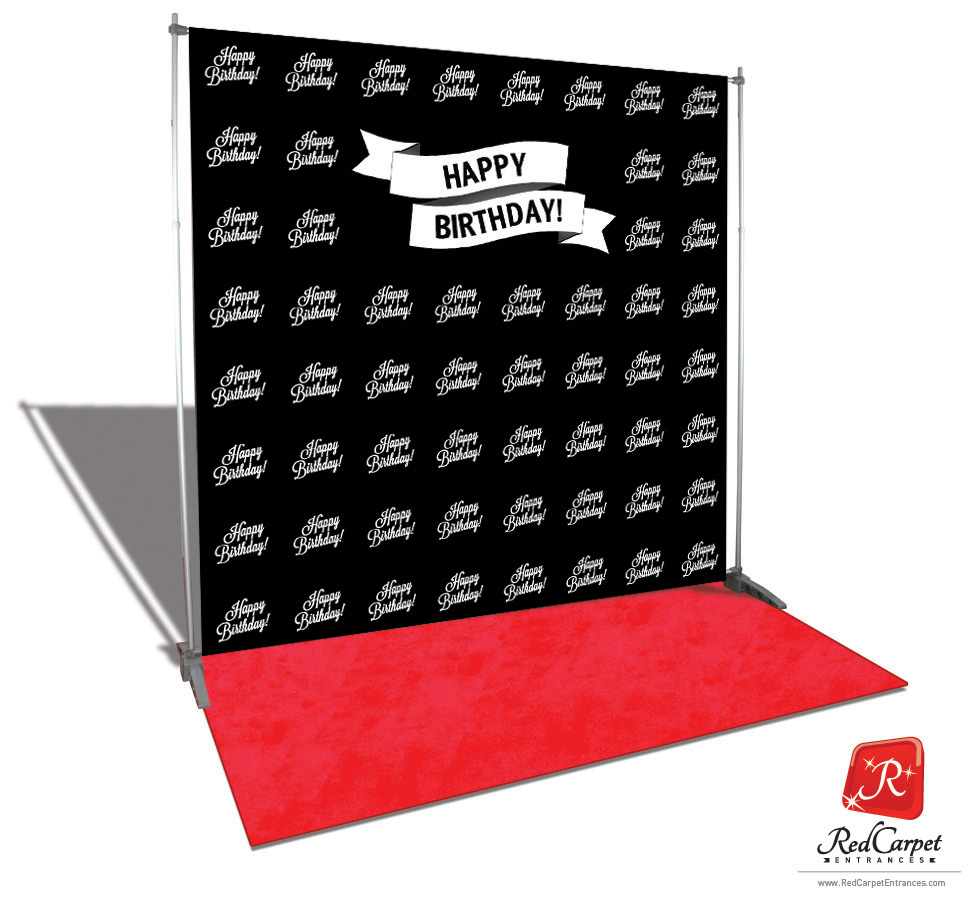 Happy Birthday Backdrop Red Carpet Kit Black 8x8