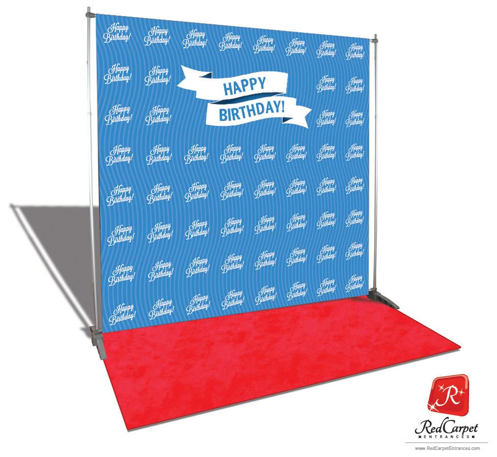Happy Birthday Backdrop Blue 8x8 Red Carpet Runner
