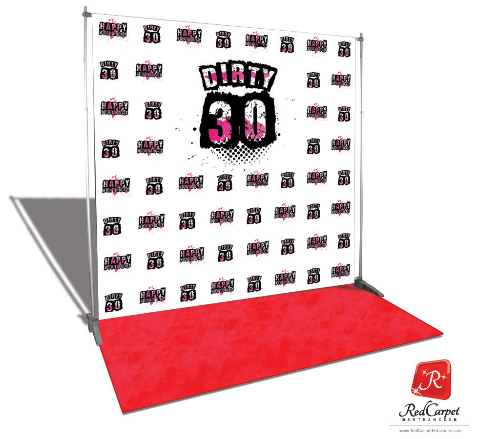 Dirty 30 Birthday Backdrop Red Carpet Kit Pink 8x8 Red