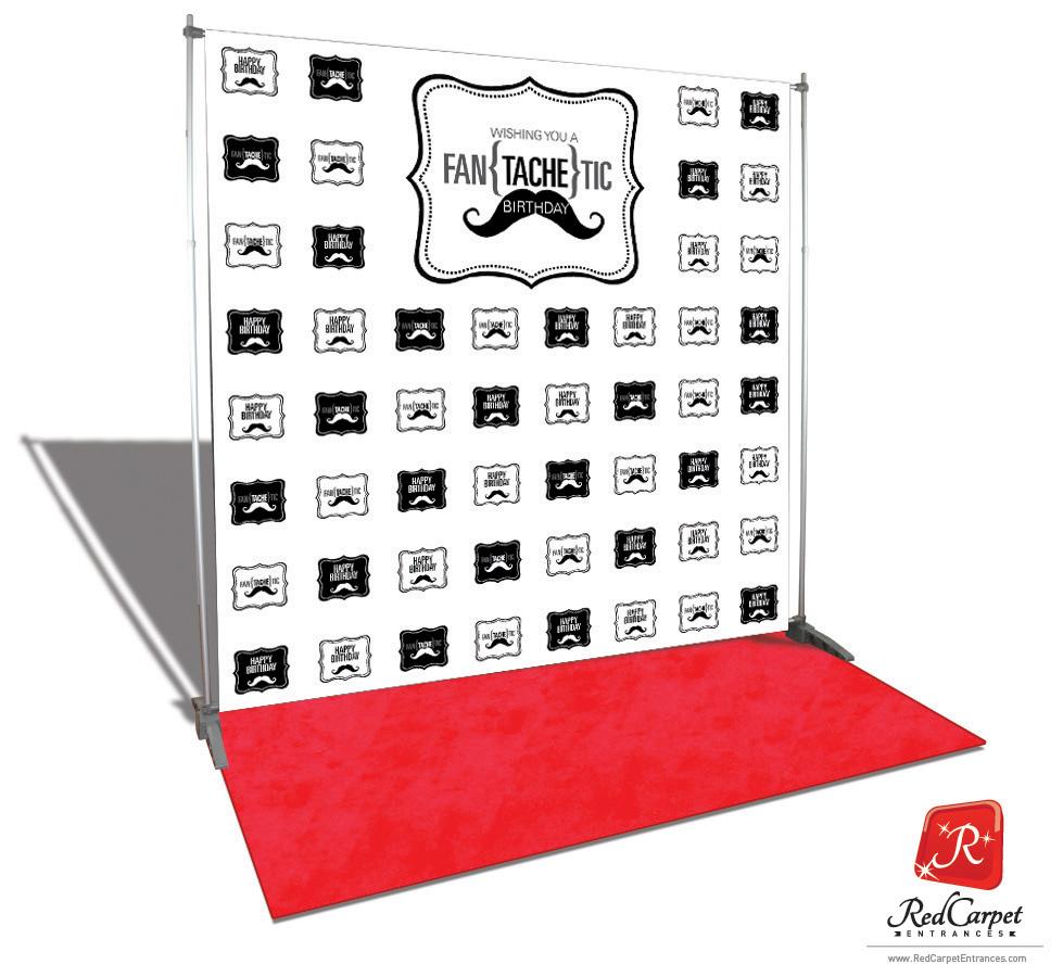 Fantachetic Birthday Backdrop Red Carpet Kit White 8x8