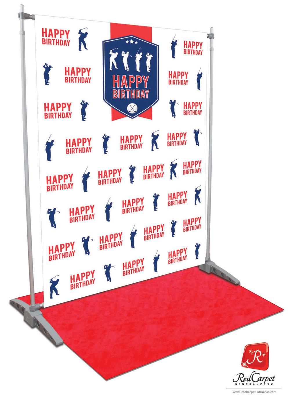 Golf Birthday Backdrop White 5x8 Red Carpet Runner