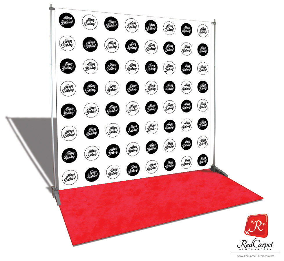 Happy Birthday Circles Backdrop Red Carpet Kit Black 8x8