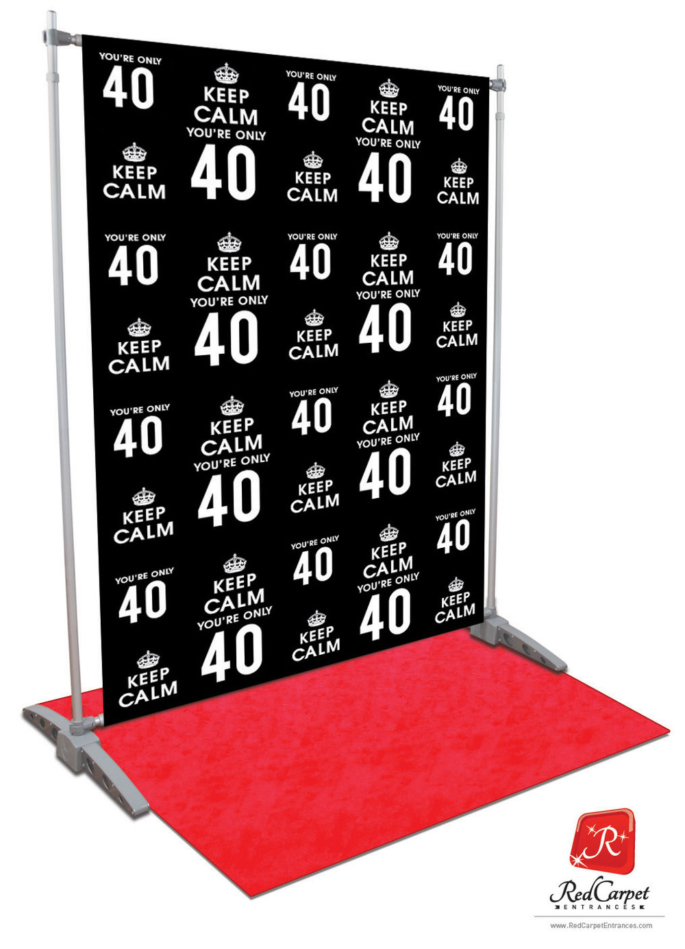 Keep Calm You Re Only 40 Black 5x8 Red Carpet Runner