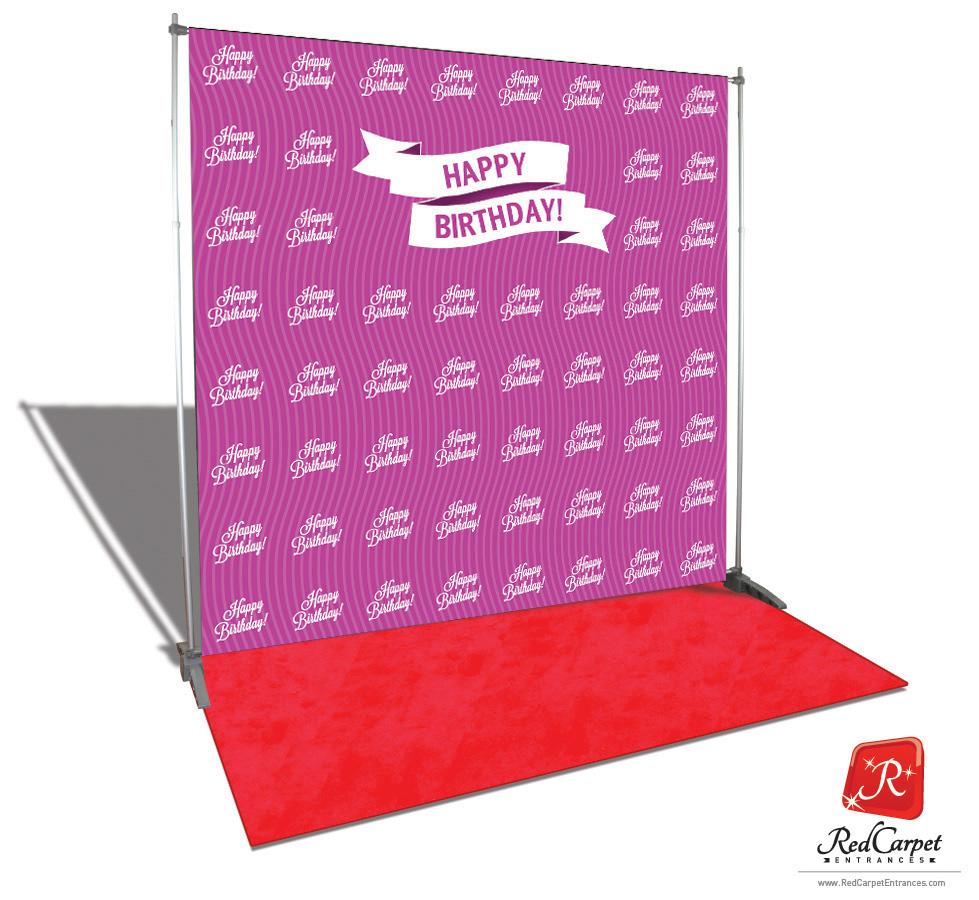 Happy Birthday Backdrop Red Carpet Kit Magenta 8x8 Red
