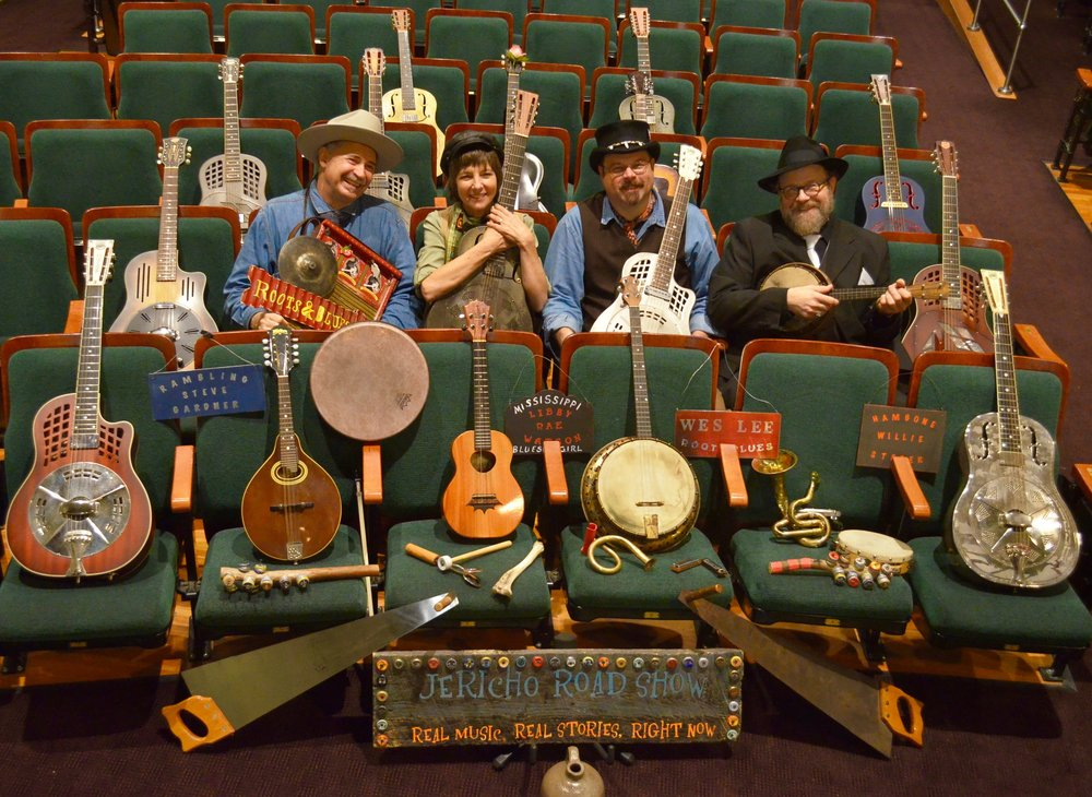 2016 Americana in Mississippi Tour with the Jericho Road Show - Lft to Rgt- Rambling Steve Gardner, LRW, Wes Lee, and Bill Steber. Mary C O'Keefe Cultural Center, Ocean Springs, MS  photo by KRISTI MILLER-LEE