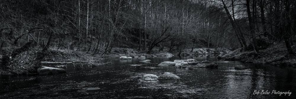 River Rocks #3, panorama, monochrome