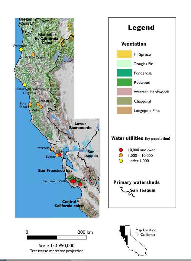 The map above shows the distribution of 45 public water utilities in coastal California, Oregon and Washington that own forest land in their source watersheds. This study analyzes the forest policies and practices of these public water utilities.