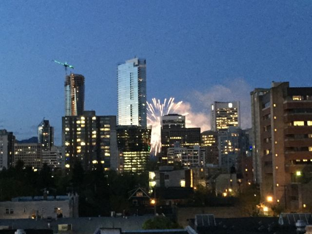 Fireworks at dusk from my hotel window in Vancouver.