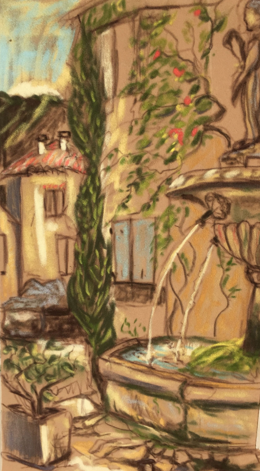 My pastel painting of fountain in town square of Saignon
