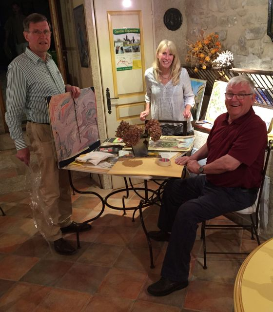 Jan, me and Albrecht displaying our paintings of the day at La Campagne Berne
