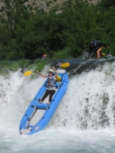 This is really me, kayaking a nine-foot rapid on the Kryk, River, Croatia