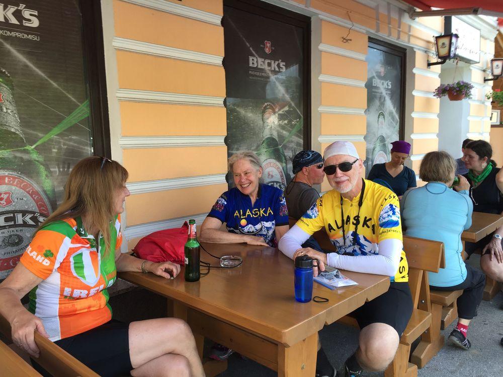 The Sierra Club International group resting after a bike ride in Croatia.