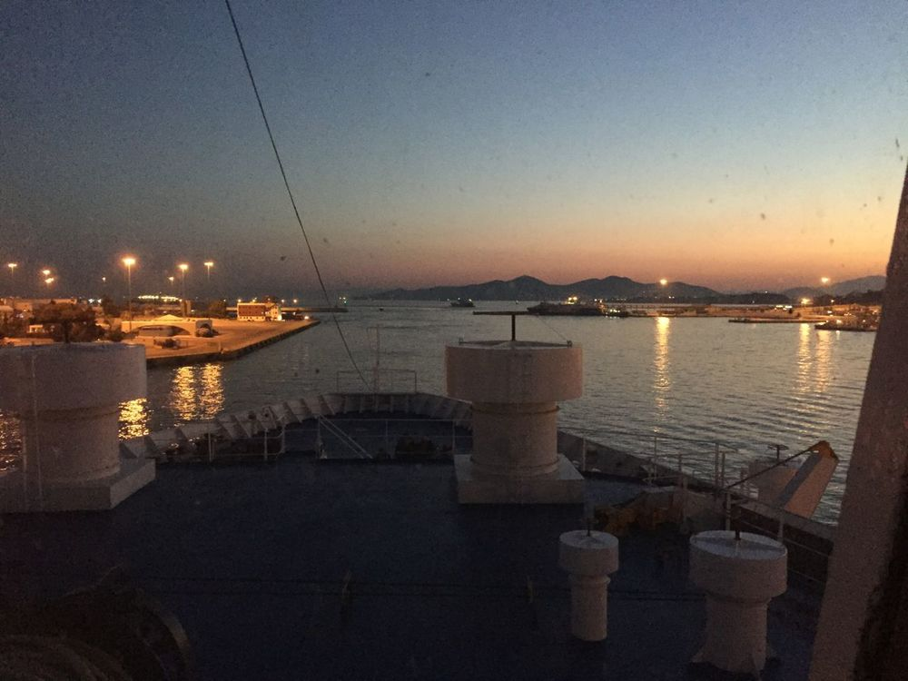 Ferry pulling into Chania, Crete at 5:30 a.m. after an overnight journey from the port of Piraeus in Athens