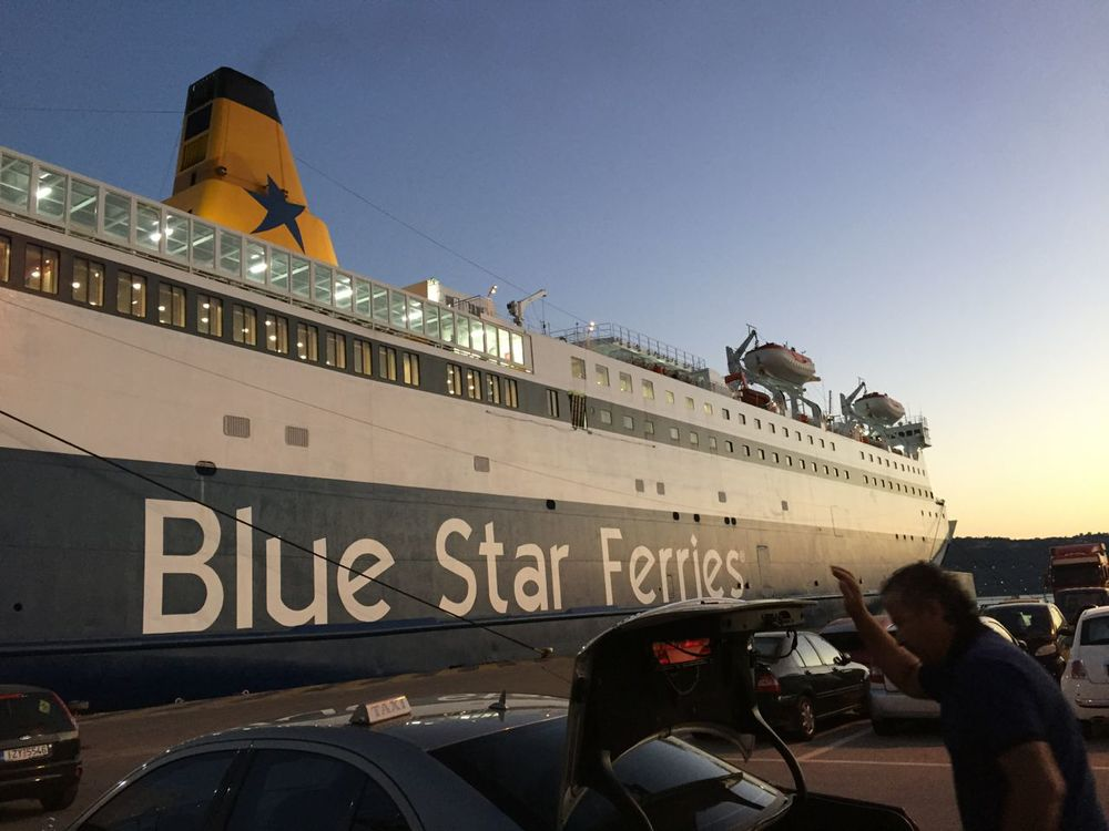 The Blue Star Ferry docked near Chania, Crete and I took a cab to the Mistral hotel in Maleme.