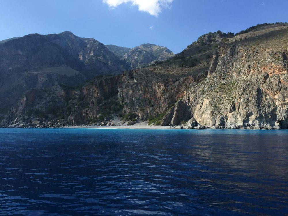 View of the deserted beaches along the south coast of Create on the Libyan Sea. I took this shot from the ferry at the end of my hike of the Samaria Gorge. Our bus was waiting for us at the end of the ferry ride.
