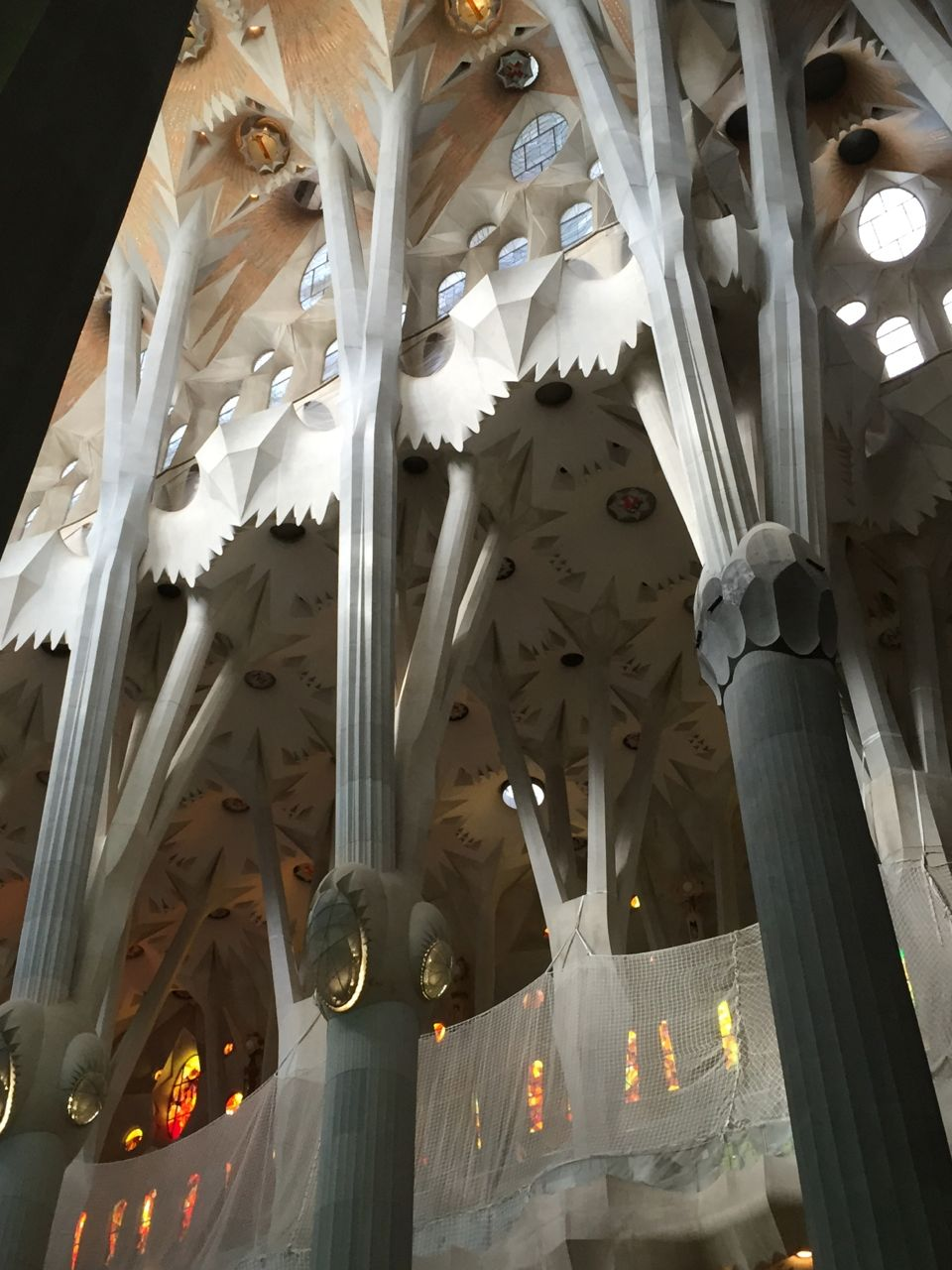 Gaudi was greatly influenced by natural forms. The soaring columns are reminiscent of huge old trees, whose branches form the canopy or ceiling of the church.